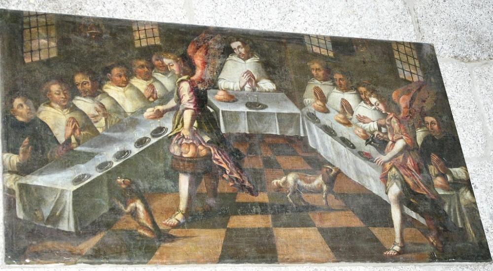 O milagre da multiplicação do Pão e do Vinho por S. Domingos. Igreja de Mancelos (Amarante, Porto). Óleo sobre tela. Séc. XVIII.